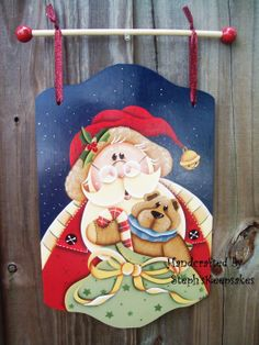 s project as a banner Christmas Wood Crafts, Painted Christmas Ornaments, Country Christmas, Christmas Art, Christmas Decorations, Santa Paintings, Christmas Paintings, Painted Wood Signs, Painted Books