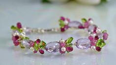Pink Amethyst Bracelet Pink Tourmaline Topaz by skyvalleyjewelry, $227.00