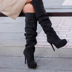 stay still for a while! Knee Boots, Shoes, Instagram, Fashion, Moda, Shoe, Shoes Outlet, Fashion Styles, Knee High Boots