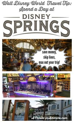 Disney Travel Tip: Spend a Day at Disney Springs! Skip long lines at attractions like the Bibbidi Bobbidi Boutique, Build Your Own Lightsaber, Disney Dining Plan restaurants, and have all sorts of free fun with the family! Disney World 2017, Walt Disney World Vacations, Disney Travel, Disney Parks, Disneyworld Vacations, Disney Bound, Vacation Places, Dream Vacations, Disney Vacation Planning