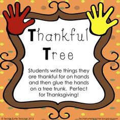 $ Thankful Tree - Thanksgiving Activity - Students write things they are thankful for on hands and glue the hands on a tree trunk