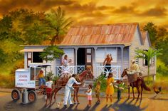 My dad's latest painting. Puerto Rican Christmas, Puerto Rico Pictures, Puerto Rico History, Jamaica History, Puerto Rican Culture, Enchanted Island, Caribbean Art, Tropical Art, Naive Art