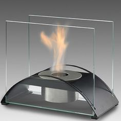 Eco-Feu Sunset Tabletop Fire Feature - great for heating a condo balcony safely! Foyer Mural, Foyers, Condo Balcony, Ethanol Fuel, Air Miles Rewards, Fireplace Accessories, Safety Glass, Decoration, Dekoration