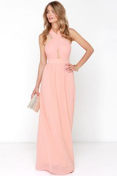 LULUS - Peach Gown - Peach Maxi Dress - $68.00