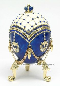 Faberge Wedding Ring Egg Box - Reminiscent of the style of Peter Carl Faberge, warranted court jeweler to the Russian Tsar and Russian nobility.: