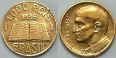 Moeda brasileira de níquel 1000 réis 1936 Anchieta