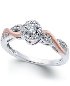Diamond Twist Promise Ring in Sterling Silver and 14k Rose Gold (1/5 ct. t.w.) - Silver