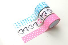 Set of 3 washi tapes, dots, triangles & hearts by PetitePinkBoutique on Etsy https://www.etsy.com/listing/499935432/set-of-3-washi-tapes-dots-triangles