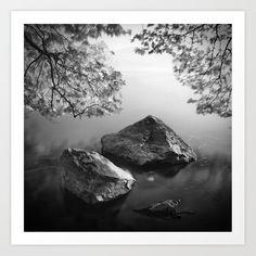 Stones water and leaves Art Print by kostaspavlis Leaf Prints, Canvas Prints, Leaf Art, Buy Frames, Fine Art Prints, Gallery Wall, Leaves, Stones, Water