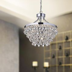 Modern Prism Faceted Glass Three Layered Chandelier Cascade Down Luxe Glass Fringe Ceiling Lamp (6 Light, 21Inch Wide)