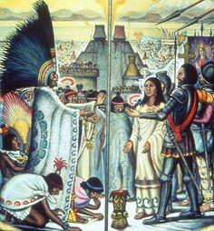 La Malinche translates a talk between Hernan Cortes (at right) and the Aztec Emperor Moctezuma. Native American Art, American History, Aztec Empire, Aztec Culture, Diego Rivera, Aztec Warrior, Western Caribbean, Mexico Art, Mesoamerican