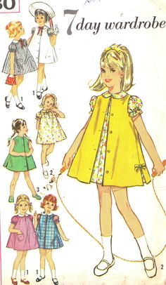 7 days wardrobe for girls | 1960s Girls Dress Pattern Simplicity 5380 Snap by paneenjerez