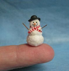 Handmade collectible Dollhouse Miniature Flocked Snowman by bcgem, $18.00