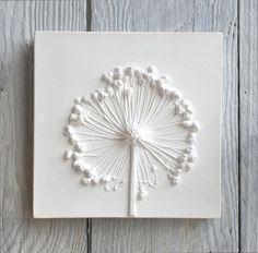 Allium Small Plaster Cast Tile Mounted on Wood botanical art