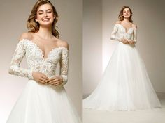 Dress of the Week | Pronovias | A romantic princess wedding dress with beaded lace bodice and long sleeves.