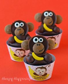 I'm Bananas About You Cupcakes Topped with Reese's Cup Monkeys