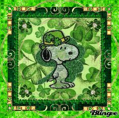 Snoopy flashing shamrock