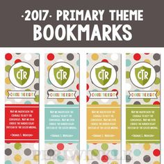 2017 LDS Primary Theme Bookmark Printables. Great for incentives, birthday…