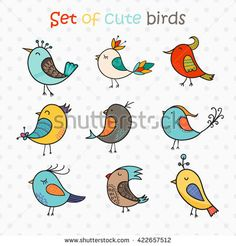 Find Set 9 Cute Birds Vector Colorful stock images in HD and millions of other royalty-free stock photos, illustrations and vectors in the Shutterstock collection. Art Drawings For Kids, Bird Drawings, Easy Drawings, Bird Doodle, Doodle Art, Simple Bird Drawing, Birds For Kids, Planner Doodles, Watercolor Beginner