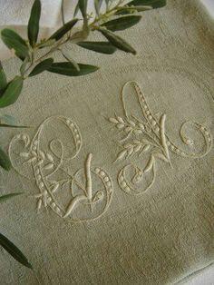 monogramed linen