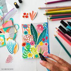 "JULIE HAMILTON (@juliehamiltoncreative) on Instagram: ""No shortage of Impromptu handmade birthday cards around here. Sketchbook pieces come in very handy✂️"""