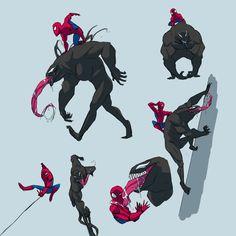 More Spidey and Venom doodling because I really like the idea of a team up Marvel Venom, Marvel Dc Comics, Marvel Heroes, Marvel Avengers, Venom Spiderman, Venom Comics, Spiderman Kunst, Spiderman Drawing, Marvel Characters