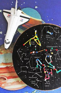 ConstellationGeoboards - site has a printable template.  This craft uses cork and pins, but I bet you could substitute toothpicks or something for the pins.