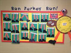 "I love these cute ""turkey legs"" that students created for a ""Run Turkey Run!"" Thanksgiving/November bulletin board display."