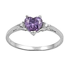 Sterling Silver Heart-cut Purple Amethyst & Russian Ice CZ Promise Friendship Ring, Amy (available sizes 4 to Purple Jewelry, Silver Jewelry, Fine Jewelry, Silver Rings, Purple Rings, Jewelry Rings, Jewelry Making, Wedding Jewelry, Wedding Rings