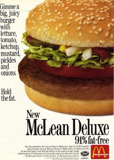 "The ""McLean"" great name! #hamburger #McDonalds #fast_food #retro #food #vintage #ad #1980s #nostalgia"