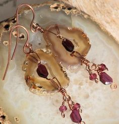 sliced geode and garnet earrings