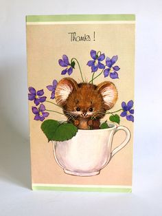 Mpuse Thank You Card - Vintage 60s Very Cute Kitsch With Thanks Greeting Card - Unused! by FunkyKoala on Etsy