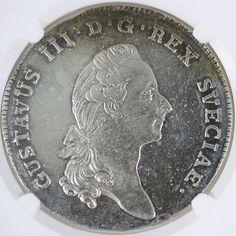 1782 Ol Sweden Riksdaler AUDetails NGC   $850
