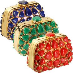 Christian Dior Stone Mosaic Clutch....made from coral, lapis, or malachite and affixed to smooth satin and accented with brilliant gold hardware.