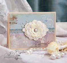 Всем привет!  Специально для блога Тамары Страцевой  я сделала открытку на день свадьбы в голубых тонах, почти монохром.   И хочу поделиться...