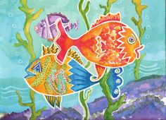 Original Watercolor painting of Colorful Fish 12 x by KathyAOlson, $90.00