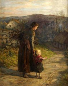 Homewards With Mother  by  Hugh Cameron (1835 – 1918, Scottish)