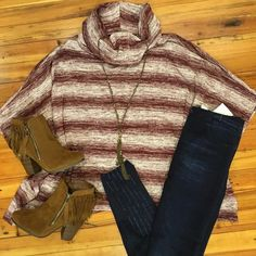 "NEW ARRIVAL  Today is definitely  #poncho day! Our ""Uptown Broad Wine Top"" styles perfectly with our denim jeggings! #ponchoweather #denimjeggings #lorelaisstyle #shoplocal #boutiquesonbroadway  #uptowncolumbusgeorgia"