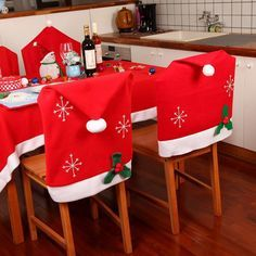 Christmas Snowflake Red Hat Chair Cover Kitchen Dinner Seat Back Cover Home Party Decor   Alexnld.com