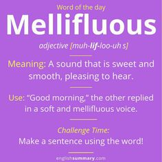 Mellifluous Meaning and Example English Idioms, English Phrases, Learn English Words, English Language, Grammar And Vocabulary, English Vocabulary Words, Vocabulary Journal, Interesting English Words, Advanced English Vocabulary