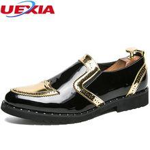 8b3e2693a Uexia новые с острым носком Броги мужские туфли-оксфорды кожаные офисные  деловой человек обувь на