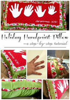 Handprint Holiday Pillow - Sugar Bee Crafts ☺ - ☝Iron-on Vinyl – – – without a craft cutting machine – – yes! Holiday Fun, Holiday Crafts, Christmas Holidays, Christmas Decorations, Christmas Ideas, Christmas Traditions, Holiday Parties, Merry Christmas, Diy Craft Projects