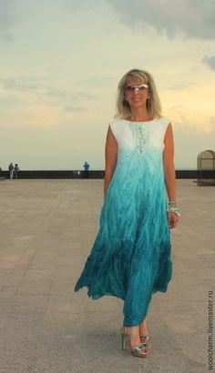 Купить Платье валяное Сон белой чайки - морская волна, валяное платье, платье в пол