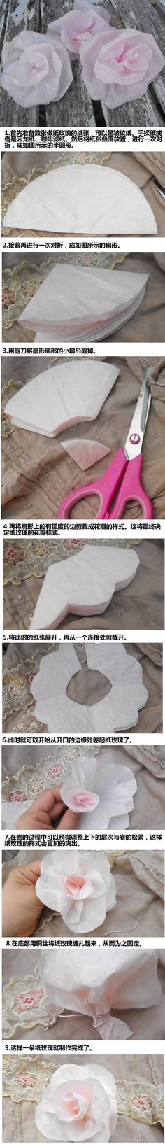 How To- Coffee Filter Flowers (in Chinese but the photos explain a lot).