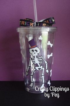Vinyl Tumbler Halloween Cup Skeleton cup by CraftyClippingsbyPeg, $14.00