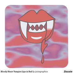 Bloody Heart Vampire Lips in Red Square Paper Coaster