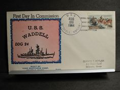 USS WADDELL DDG-24 Naval Cover 1964 BECK B468 COMMISSIONED Cachet