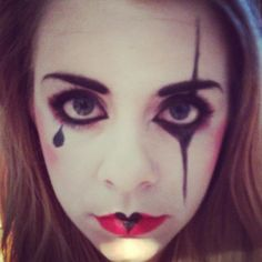 Harlequin Clown make up, fancy dress