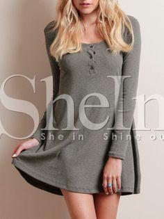 Grey Pullover Informal Long Sleeve Designers Casual Dress 10.99