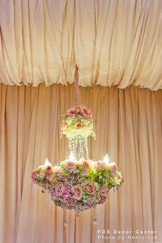 flowers in chandeliers Wedding Hanging Décor Ideas ~ Lights